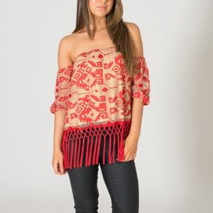 Line & dot red fringe tube top embroidered small
